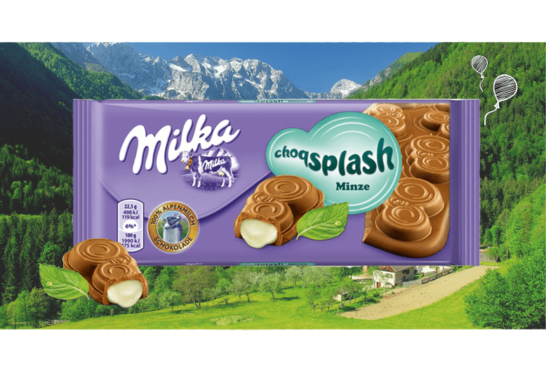 Milka Choqsplash Mint или Милка ЧокоСплеш с мятой